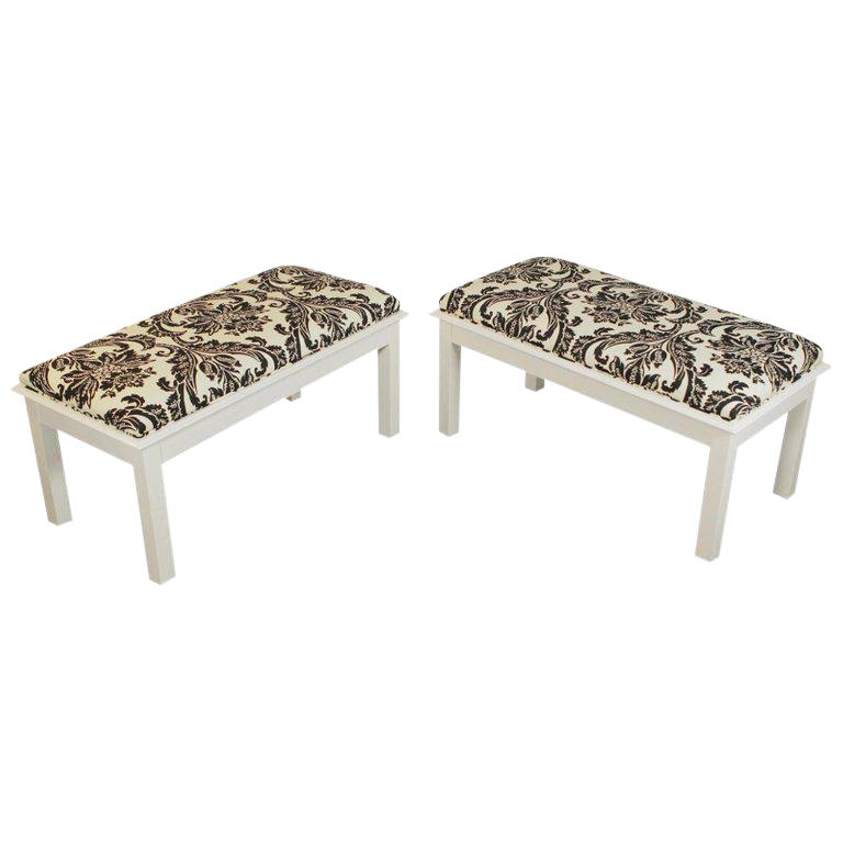 Mid Century Modern White Painted Wood Upholstered Benches A Pair