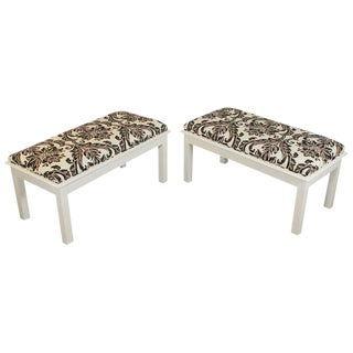 Mid Century Modern White Painted Wood Upholstered Benches- A Pair For Sale