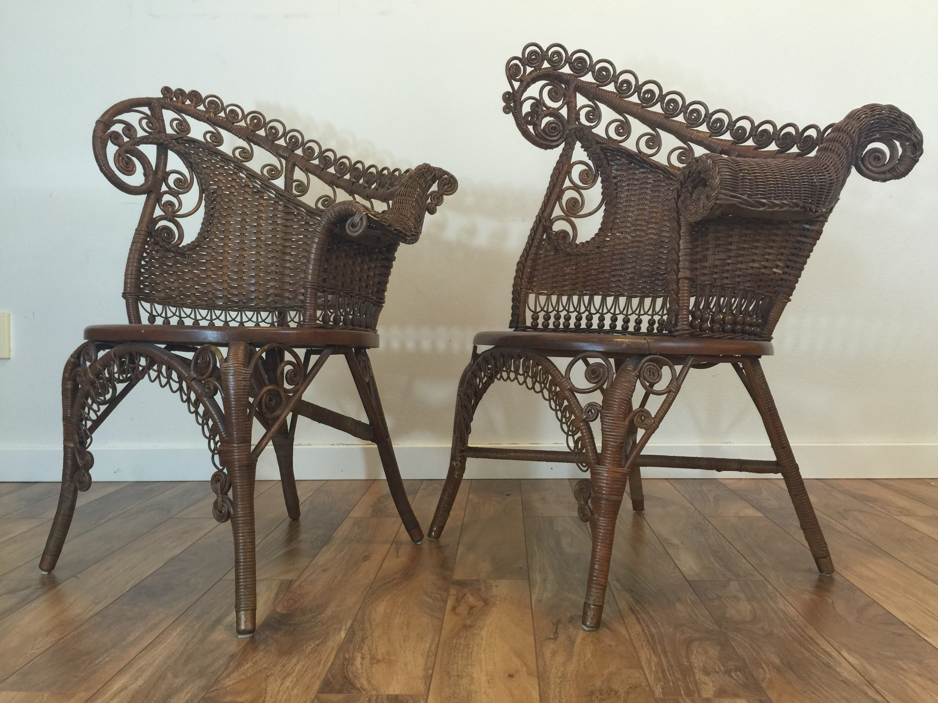 Antique Wicker Photographeru0027s Chairs   A Pair   Image 4 Of 11