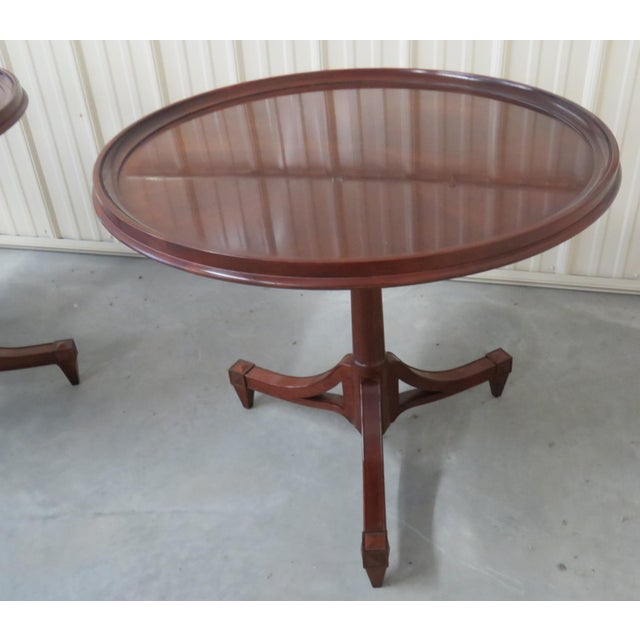 Georgian Mid Century Baker Furniture Center Tables - a Pair For Sale - Image 3 of 7