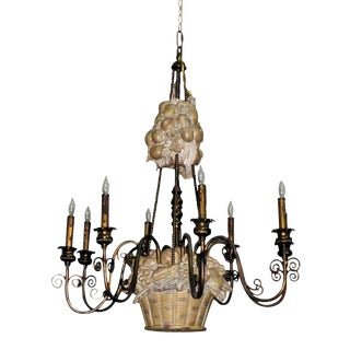 Maitland Smith 8-Light Brass Fruit Basket Chandelier For Sale
