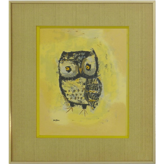 Mid-Century Owl Paintings - A Pair - Image 2 of 10