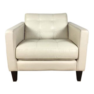 Chateau d'Ax Leather Upholstered Button Tufted Armchair