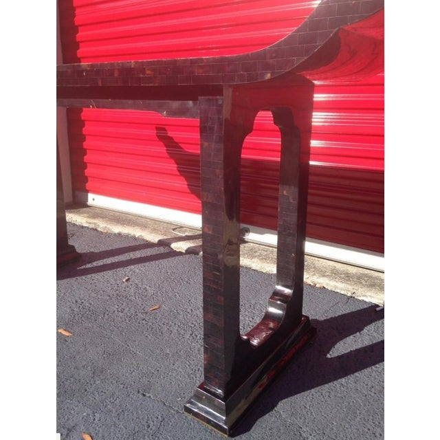 1970s Maitland Smith Tessellated Horn Console Table For Sale In Miami - Image 6 of 11