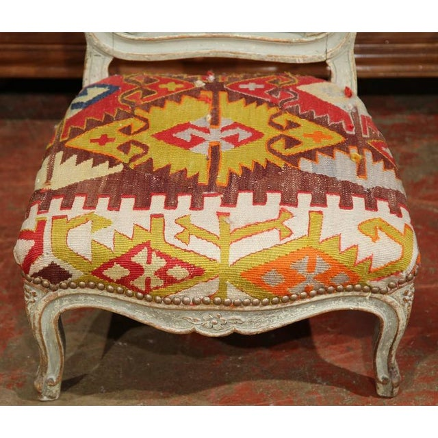 19th Century French Carved and Painted Antique Kilim Prie-Dieu Prayer Chair  - Image 5 - 19th Century French Carved And Painted Antique Kilim Prie-Dieu