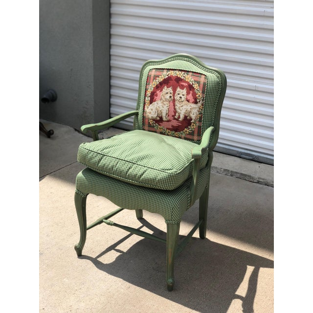 Late 20th Century Late 20th Century Antique French Gingham Fabric & Dog Detailing Chair For Sale - Image 5 of 9