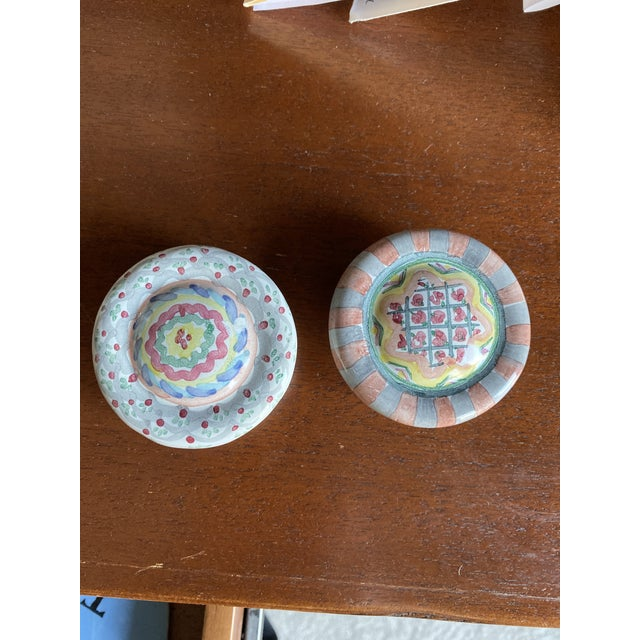 1990's Mackenzie Childs Hand Painted Ceramic Door Pulls - a Pair For Sale - Image 13 of 13