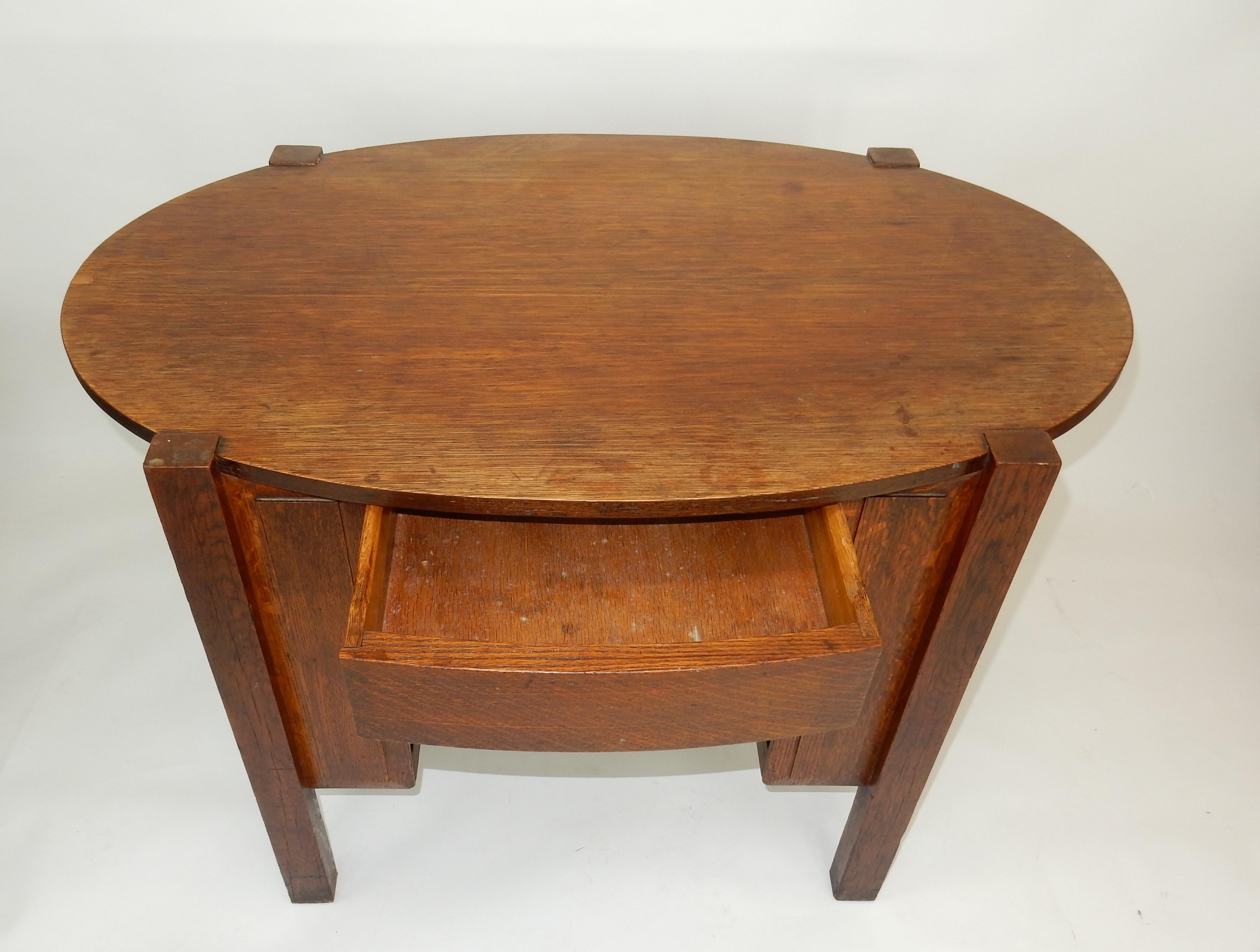 Oak Antique Limbert Style Oval Oak Library Table With Drawer For Sale    Image 7 Of