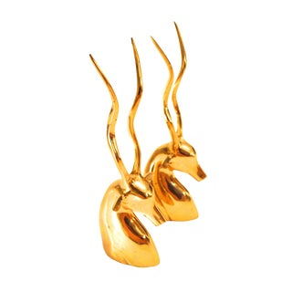Vintage Brass Antelope Bookends For Sale