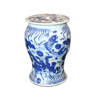 Chinese Distressed Blue & White Porcelain Round Fishes Stool For Sale
