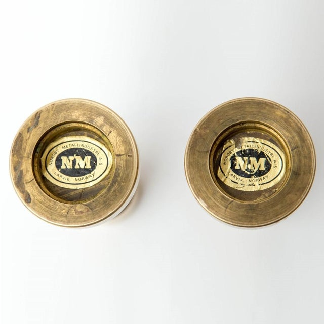 Mid 20th Century Brass Danish Modern Candlesticks, a Pair For Sale - Image 5 of 7