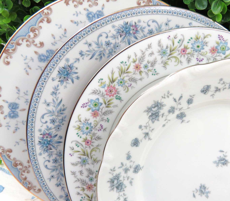 Vintage Mismatched Fine China Dinner Plates - Set of 4 - Image 2 of 8  sc 1 st  Chairish & Vintage Mismatched Fine China Dinner Plates - Set of 4 | Chairish