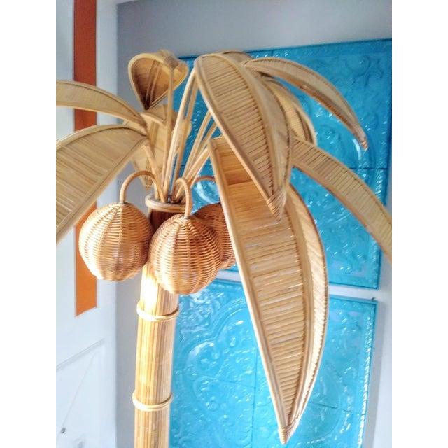 1970s Vintage Mario Lopez Torres Massive Natural Honey Rattan Palm Beach Regency Palm Tree Coconut Floor Lamp For Sale - Image 5 of 9