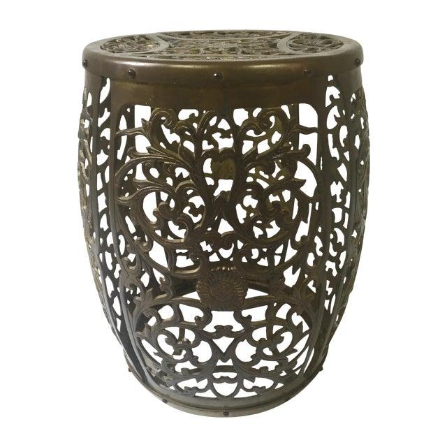 Asian Brass Filigree Garden Stool - Image 1 of 5