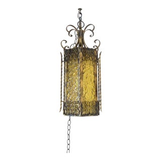 Vintage Gothic Spanish Revival Style Wrought Iron & Stained Amber Glass Hanging Swag Lamp For Sale