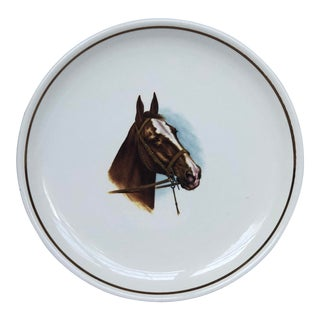 Vintage Ceramic Horse Portrait Plate for Wall Decor For Sale