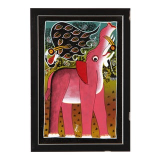 Vintage African Tinga Tinga Oil Painting of a Pink Elephant by Lewis For Sale