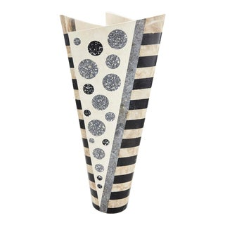 "1990s Postmodern Black and White Tessellated Stone ""Trio"" Vase For Sale"