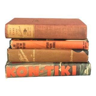 1940s Decorative Orange Mid-Century Style Book Bundle - 4 Books For Sale