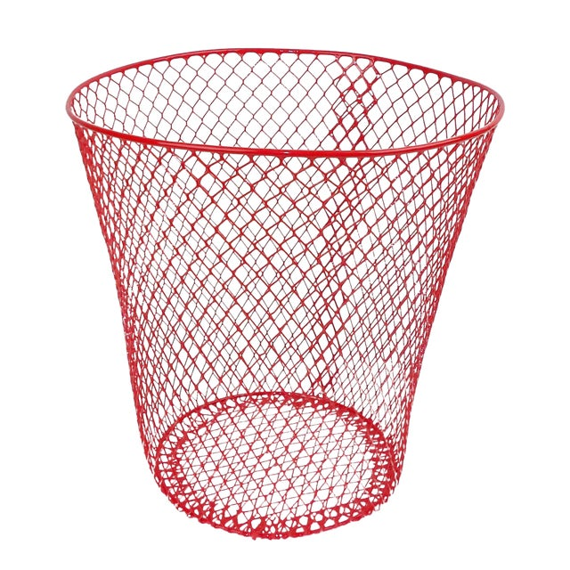 Vintage Mid-Century Modern Red Wire Metal Waste Bucket - Image 1 of 11