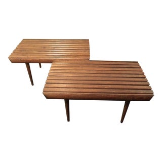 Mid-Century Matching Teak Slat Benches - A Pair For Sale