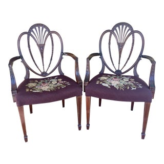 Hepplewhite Heart Back Chairs - a Pair For Sale
