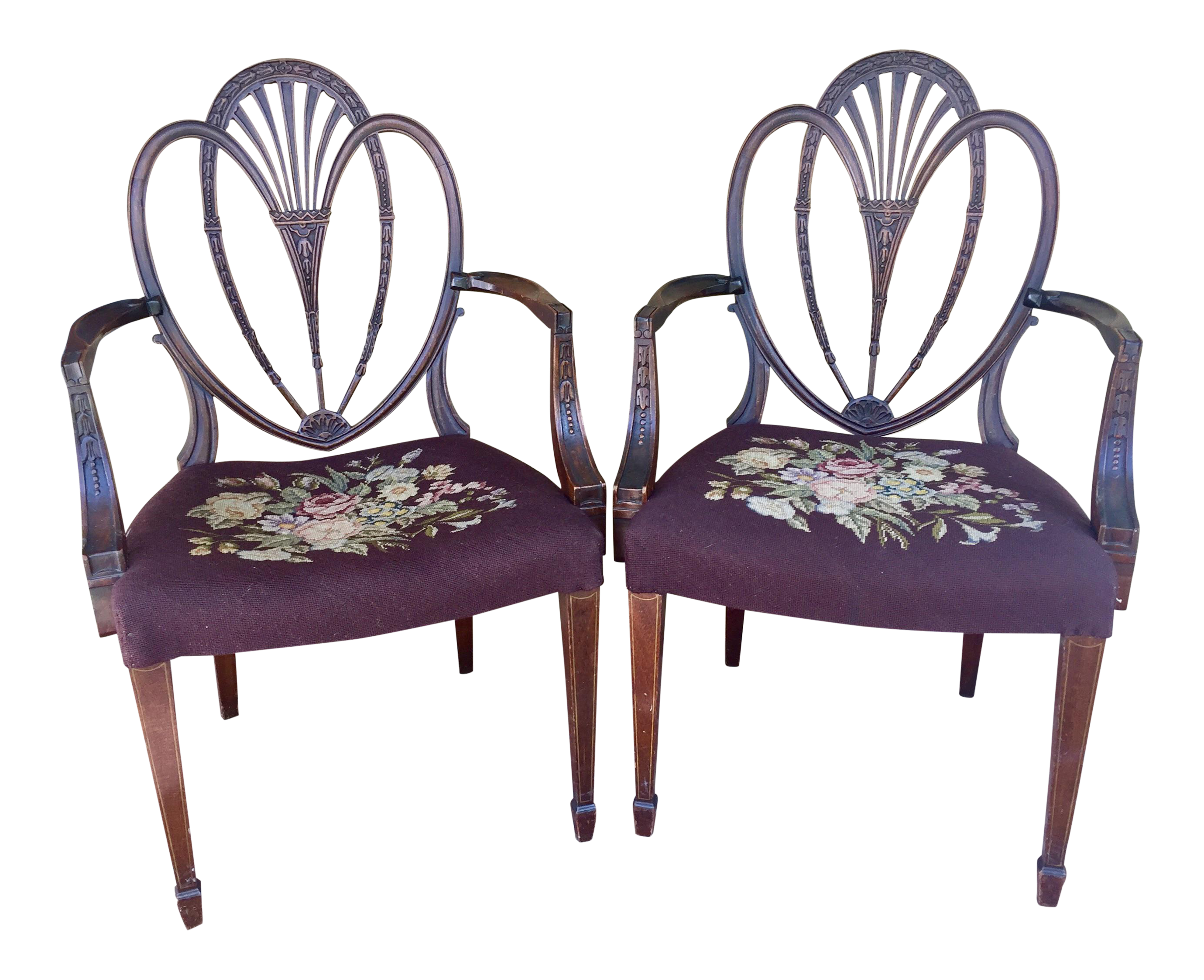 Hepplewhite Heart Back Chairs - a Pair For Sale  sc 1 st  Chairish & Hepplewhite Heart Back Chairs - a Pair | Chairish