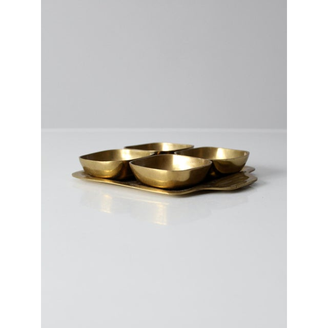 Vintage Brass Tray With Dividing Bowls - Set of 5 For Sale - Image 4 of 10