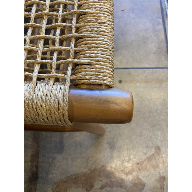 Woven Cord and Teak Bench For Sale In Los Angeles - Image 6 of 10