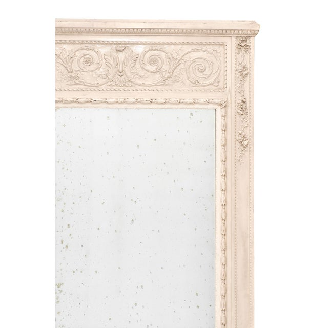 French Antique White Trumeau Mirror For Sale - Image 4 of 10