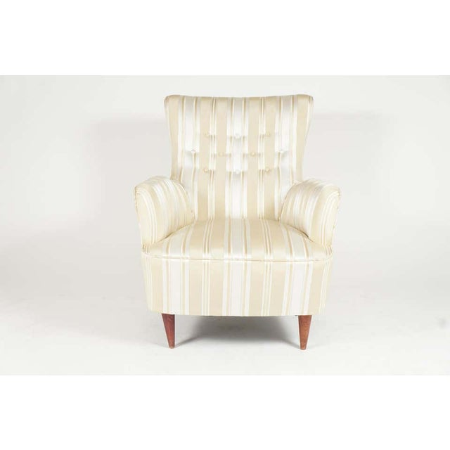 Italian Sculptural Pair of 1950s Midcentury Italian Paolo Buffa Attr. Arm Lounge Chairs For Sale - Image 3 of 11