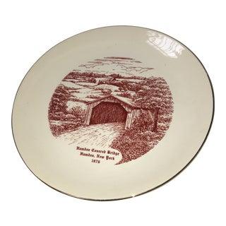 1975 Hamden Ny Covered Bridge Porcelain Plate For Sale