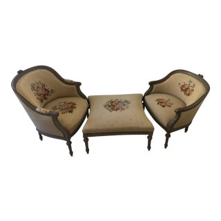 19th Century French Louis XVI Chaise Duchesse Brisee - Set of 3 For Sale