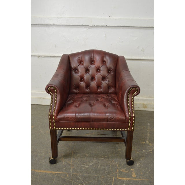 Brown Chippendale Chesterfield Style Tufted Faux Leather Club Chair For Sale - Image 8 of 13