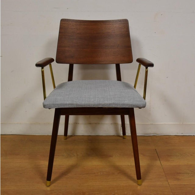Walnut & Brass Occasional Chair - Image 3 of 11
