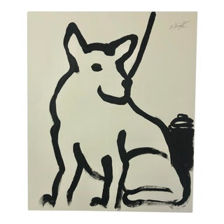 """""""Dog on a Leash"""" Original Painting on Paper Signed by Artist For Sale"""