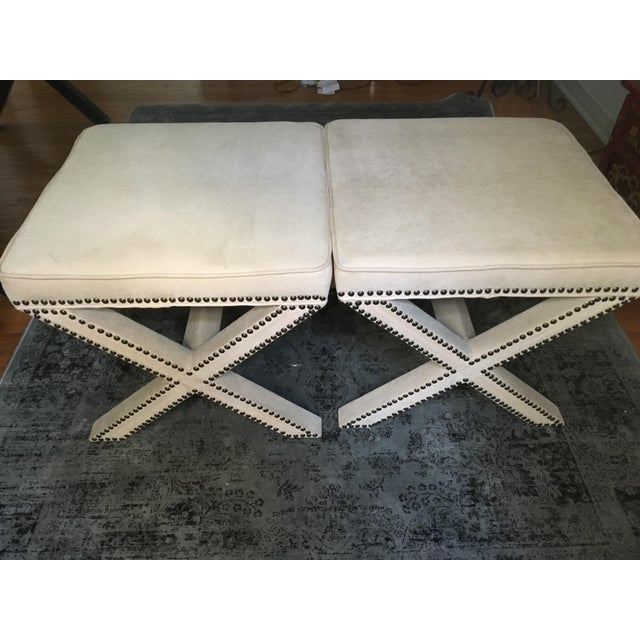 Linen Nailhead X-Bench Ottoman - a Pair For Sale In Los Angeles - Image 6 of 8