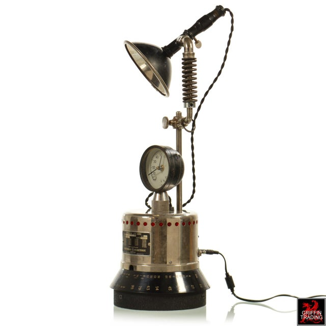 Here is another unique industrial style illumination device by the creative duo at Van Dusen Clockworks. Comprised of...