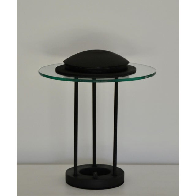 Art Deco Postmodern Matte Black Table Lamp With Glass Disk For Sale - Image 3 of 10