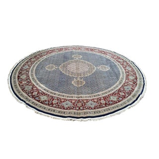 Traditional 9 Ft. Round Persian Design Round Handmade Knotted Rug - 9x9 For Sale