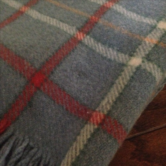 Vintage Plaid Wool Blend Blanket - Image 5 of 11