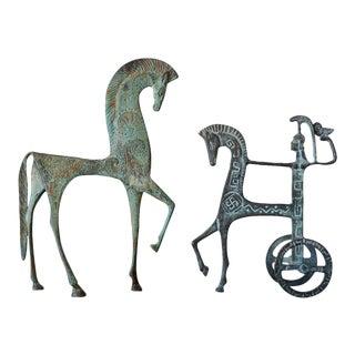Mid Century Bronze Etruscan Horse Sculptures - Set of 2 For Sale