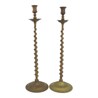 Tall Bronze Candlesticks, Pr For Sale