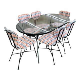 Mid Century Modern Iron Patio Dining Set For Sale
