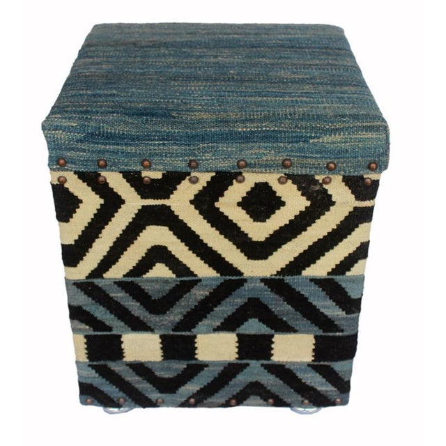 Asian Delora Black/Ivory Kilim Upholstered Handmade Storage Ottoman For Sale - Image 3 of 8