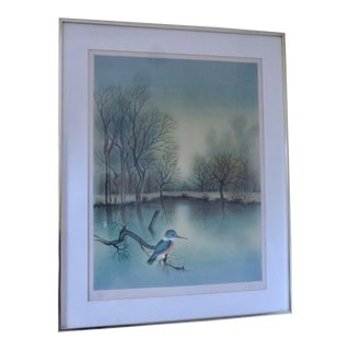 Mid Century Kingfisher Bird Print Signed Pires