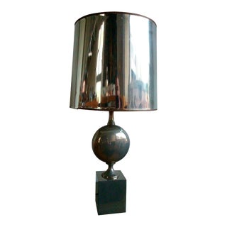 Maison Barbier polished steel table lamp - France 1970's - Ipso Facto For Sale