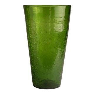 1970s Mid-Century Modern Blenko Green Glass Vase