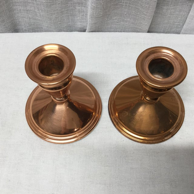 Mid-Century Copper Candle Holders - a Pair For Sale - Image 4 of 5