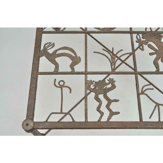 Metal and Glass Square Brutalist Coffee Table With Native American Glyph Figures For Sale - Image 9 of 11